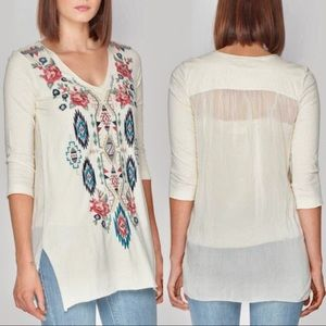Johnny Was Aveza Georgette Tunic Embroidered Cream